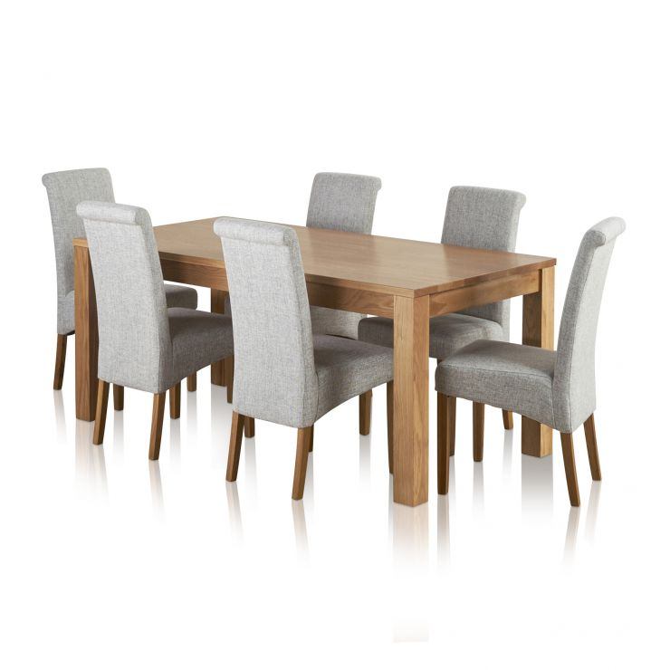 Oakdale Natural Solid Oak Dining Set - 6ft Table with 6 Scroll Back Plain Grey Fabric Chairs - Image 6