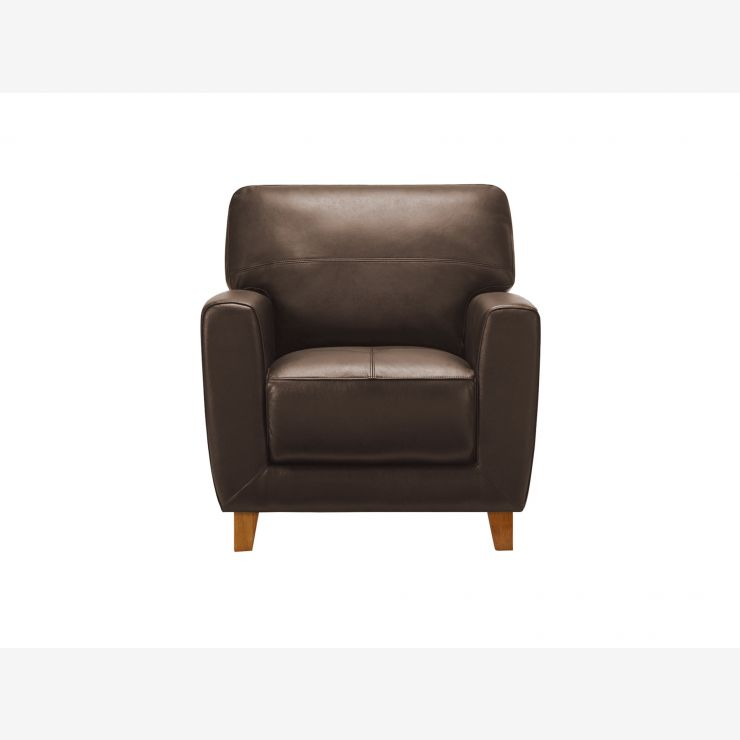 Oliver Armchair - Brown Leather - Image 2