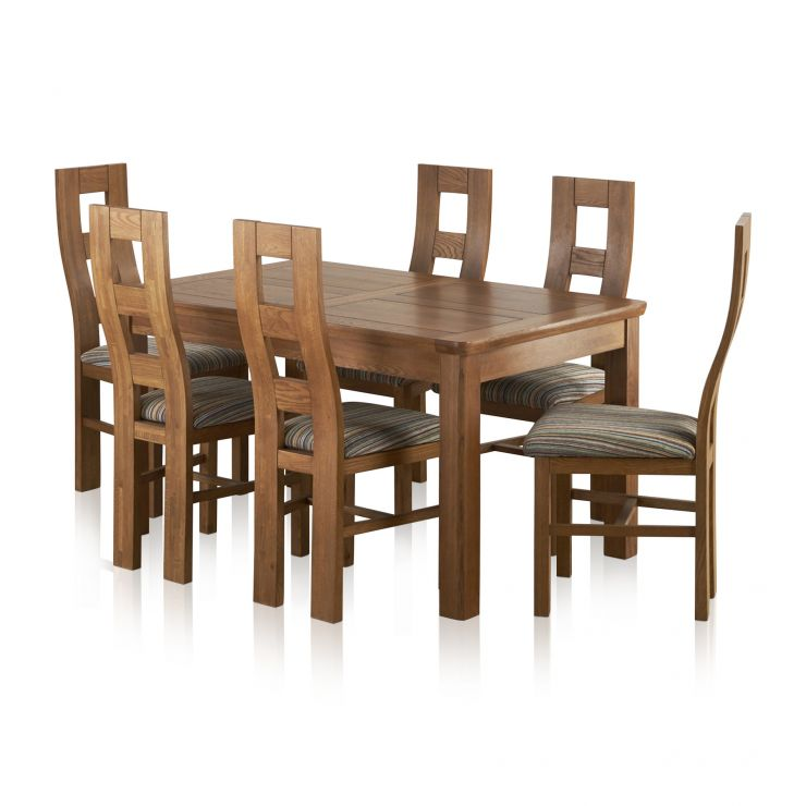 "Orrick 4ft 7"" x 3ft Rustic Solid Oak Extending Dining Table +6 Wave Back Striped Fabric Chairs - Image 9"