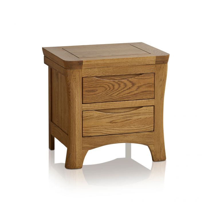 Orrick Rustic Solid Oak 2 Drawer Bedside Table - Image 5