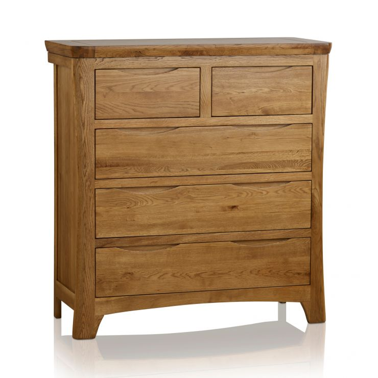 Orrick Rustic Solid Oak 3+2 Drawer Chest - Image 6