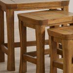 Orrick Rustic Solid Oak Nest of Tables - Thumbnail 4