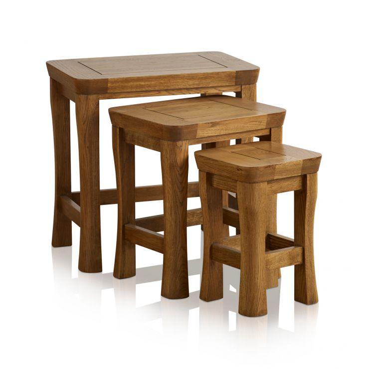 Orrick Rustic Solid Oak Nest of Tables - Image 5