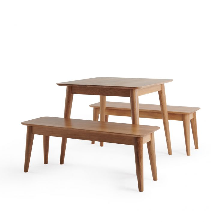 Oscar Natural Solid Oak 3ft Dining Table with 2 Oscar Benches
