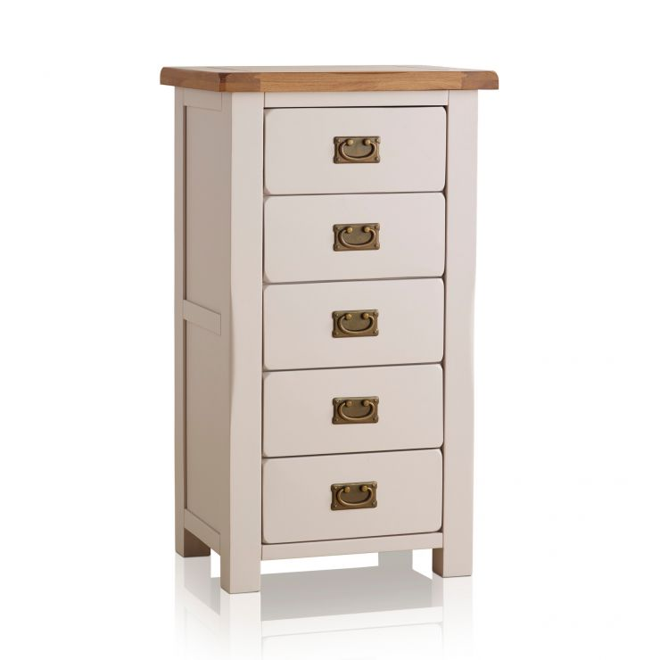 Kemble Rustic Solid Oak and Painted 5 Drawer Tallboy - Image 1