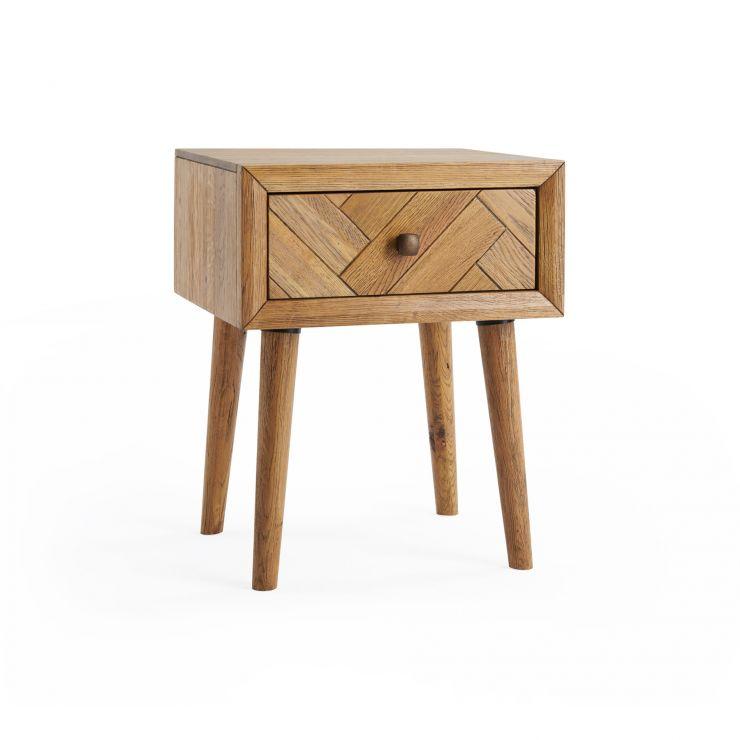 Parquet 1 Drawer Bedside Table Brushed And Glazed Oak
