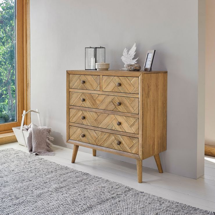 Parquet Brushed and Glazed Oak 2+3 Chest of Drawers