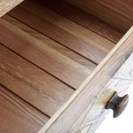 Parquet Brushed and Glazed Oak 2 Drawer Bedside Table - Thumbnail 5