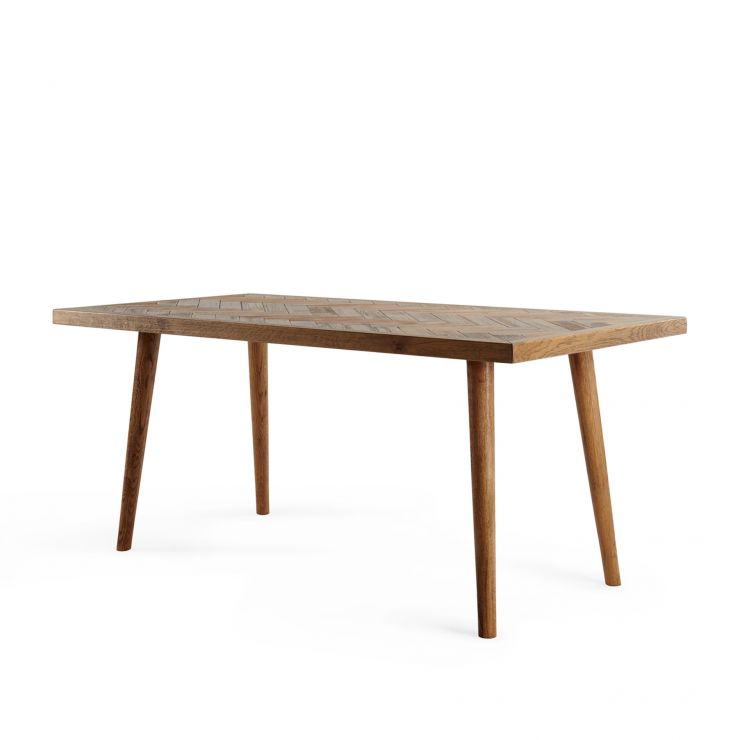 Parquet Brushed and Glazed Oak 6 Seater Dining Table