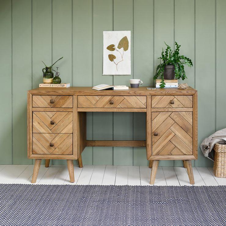 Parquet Brushed and Glazed Oak Computer Desk