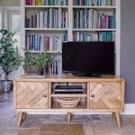 Parquet Brushed and Glazed Oak Large TV Unit - Thumbnail 1