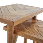 Parquet Brushed and Glazed Oak Nest of 2 Tables - Thumbnail 2