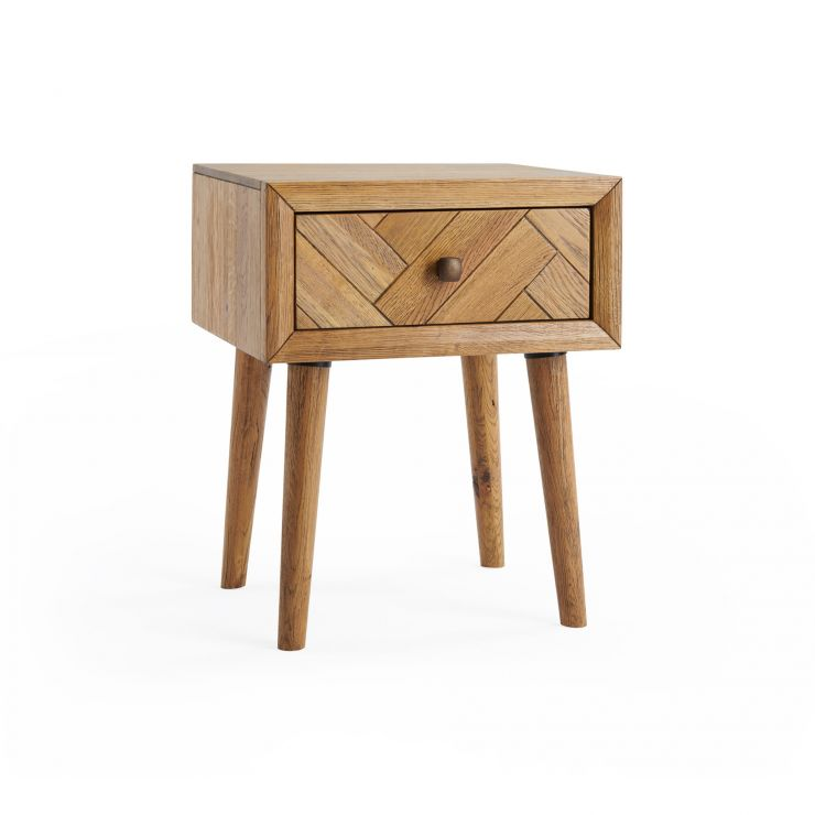 Parquet Brushed and Glazed Oak 1 Drawer Side Table