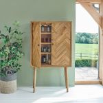 Parquet Brushed and Glazed Oak Storage and Drinks Cabinet - Thumbnail 1