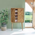 Parquet Brushed and Glazed Oak Storage and Drinks Cabinet - Thumbnail 2