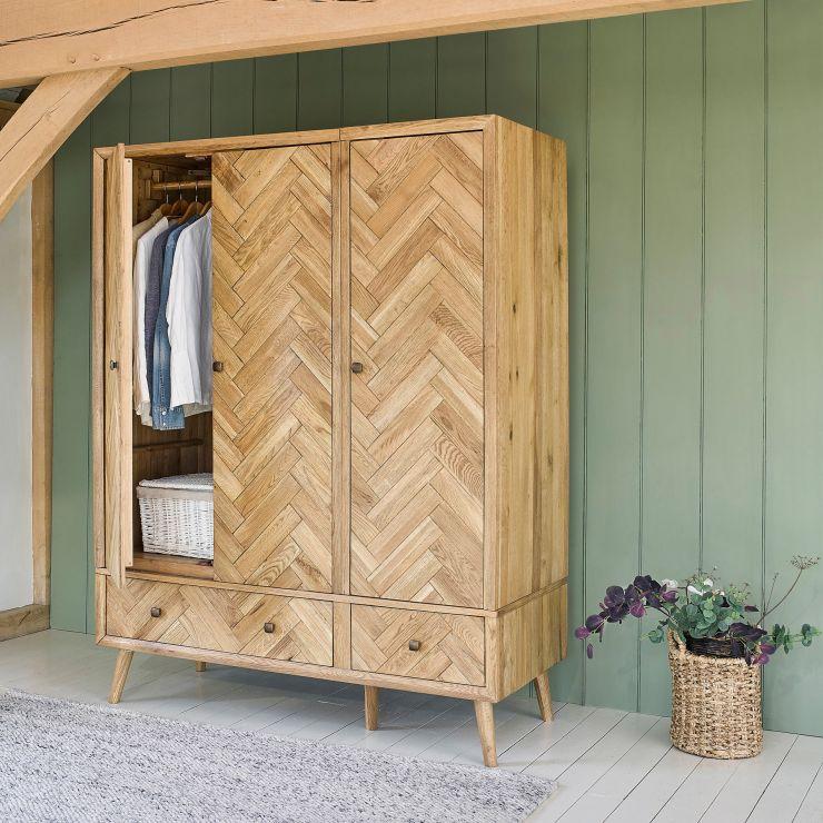 Parquet Brushed and Glazed Oak Triple Wardrobe