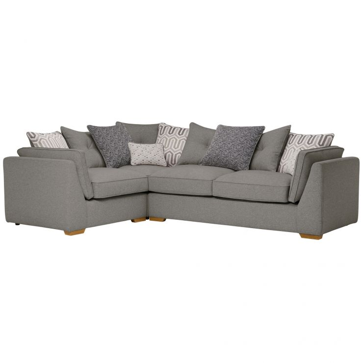 Pasadena Right Hand Pillow Back Corner Sofa in Denzel Graphite with Blockbuster Slate Scatters