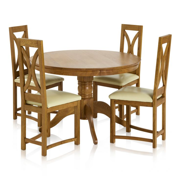 Pedestal Rust Solid Oak Dining Set - 4ft Round Table with 4 Loop Back and Cream Leather Dining Chair