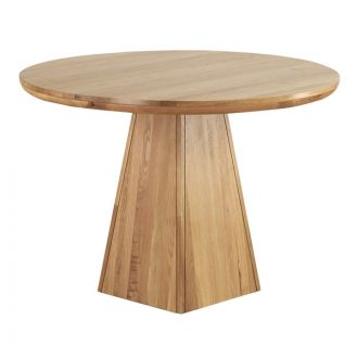 """Provence Natural Solid Oak 3ft 7"""" Round Table with Pyramid Base"""
