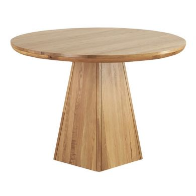 Natural Solid Oak Round Table with Pyramid Base
