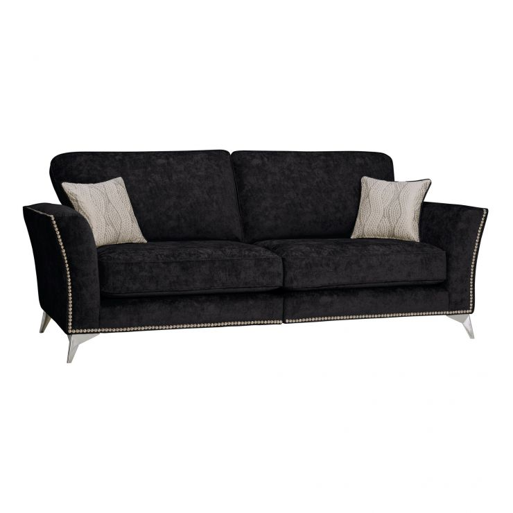 Quartz High Back Black 4 Seater Sofa in Fabric - Image 1