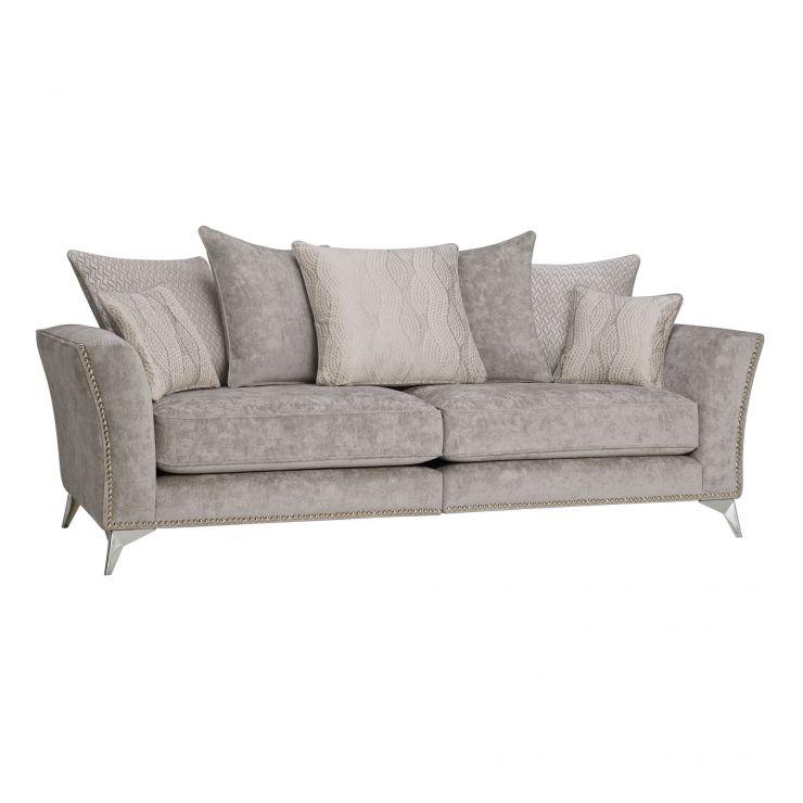Quartz Pillow Back Nickel 4 Seater Sofa in Fabric