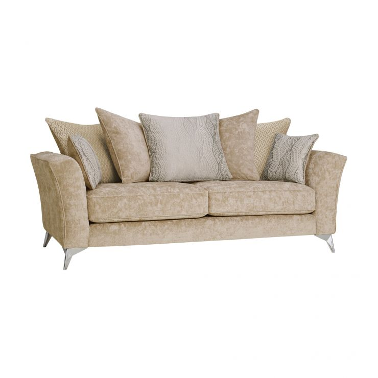 Quartz Traditional Pillow Back Beige 3 Seater Sofa in Fabric