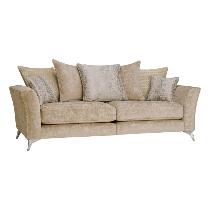 Quartz Traditional Pillow Back Beige 4 Seater Sofa in Fabric