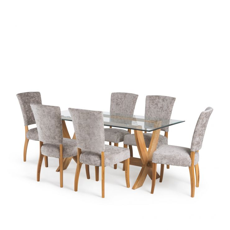 """Reflection 5ft 9"""" Glass and Natural Solid Oak Dining Table and 6 Upholstered Curve Back Chairs"""