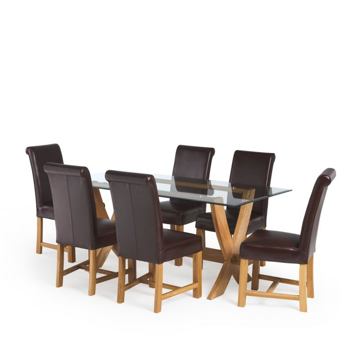 """Reflection 5ft 9"""" Glass Dining Table in Natural Solid Oak and 6 Braced Scroll Back Leather Chairs"""