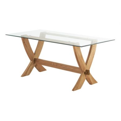 Reflection 6ft x 3ft Glass top and Natural Solid Oak Crossed Leg Dining Table