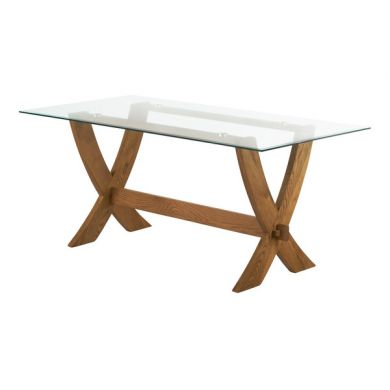 Reflection 6ft x 3ft Glass top and Rustic Solid Oak Crossed Leg Dining Table