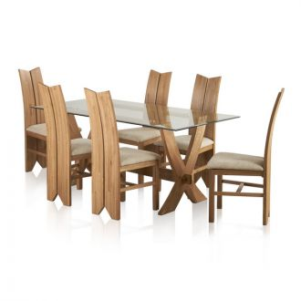 Reflection Natural Solid Oak Dining Set - 6ft Table with 6 Tulip and Plain Beige Chairs