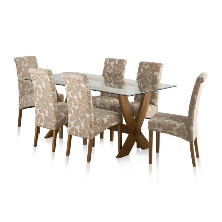 Reflection Rustic Solid Oak Dining Set - 6ft Table with 6 Scroll Back Patterned Beige Chairs - Image 1