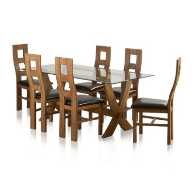 Reflection Rustic Solid Oak Dining Set - 6ft Table with 6 Wave Back and Brown Leather Chairs