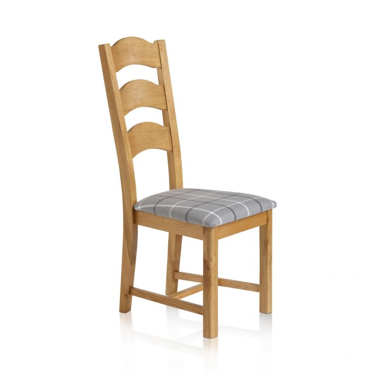 Rhodes Natural Solid Oak and Check Granite Dining Chair