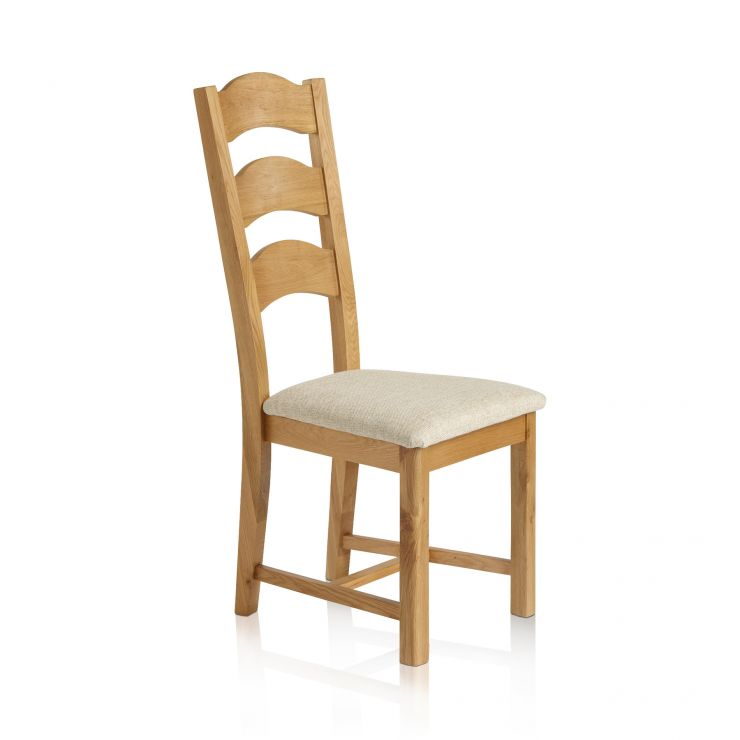 Rhodes Natural Solid Oak and Plain Beige Fabric Dining Chair - Image 1