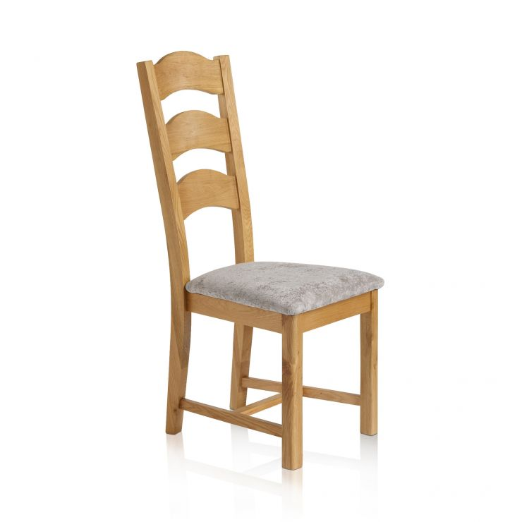 Rhodes Natural Solid Oak and Plain Truffle Fabric Dining Chair - Image 2