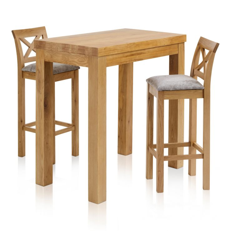 """Rhodes Natural Solid Oak Breakfast Set - 3ft 3"""" Table with 2 Cross Back Plain Truffle Fabric Bar Stools - Image 6"""