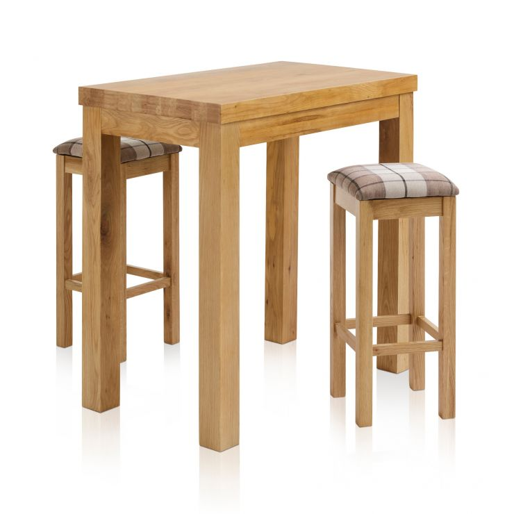"""Rhodes Natural Solid Oak Breakfast Set - 3ft 3"""" Table with 2 Square Check Brown Fabric Bar Stools"""