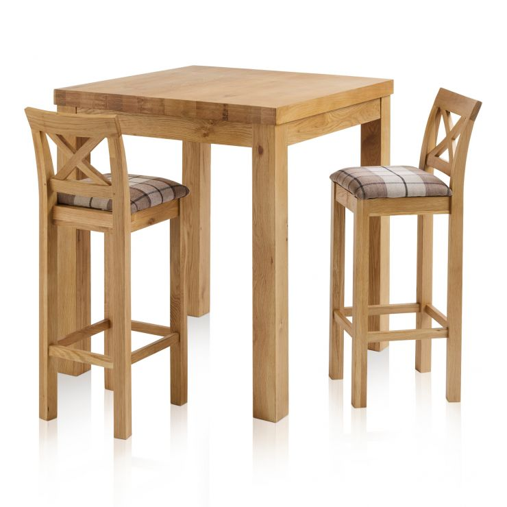 Rhodes Natural Solid Oak Breakfast Set - 3ft Table with 2 Cross Back Check Brown Fabric Bar Stools