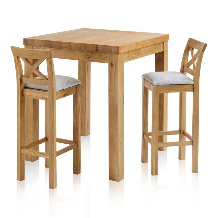 Rhodes Natural Solid Oak Breakfast Set - 3ft Table with 2 Cross Back Plain Grey Fabric Bar Stools