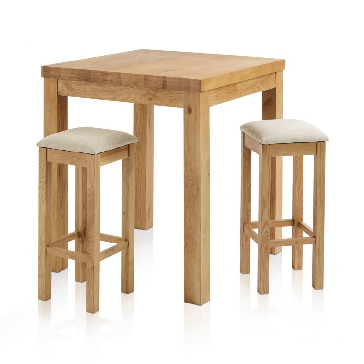 Rhodes Natural Solid Oak Breakfast Set - 3ft Table with 2 Square Plain Beige Fabric Bar Stools - Image 7