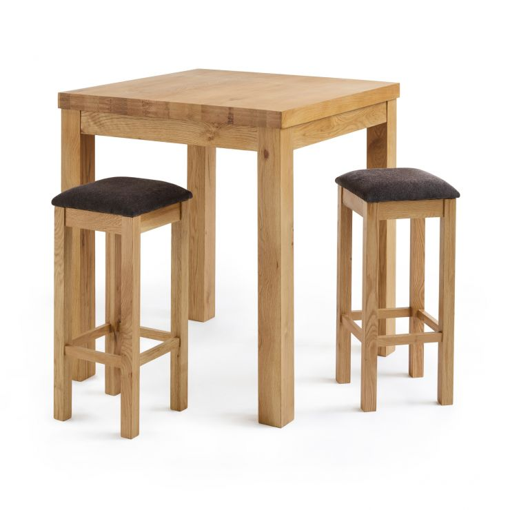 Rhodes Natural Solid Oak Breakfast Set - 3ft Table with 2 Square Plain Charcoal Fabric Bar Stools
