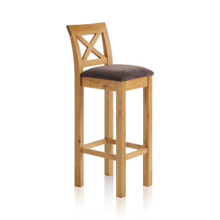 Rhodes Natural Solid Oak Cross Back Bar Stool with Plain Charcoal Fabric Pad