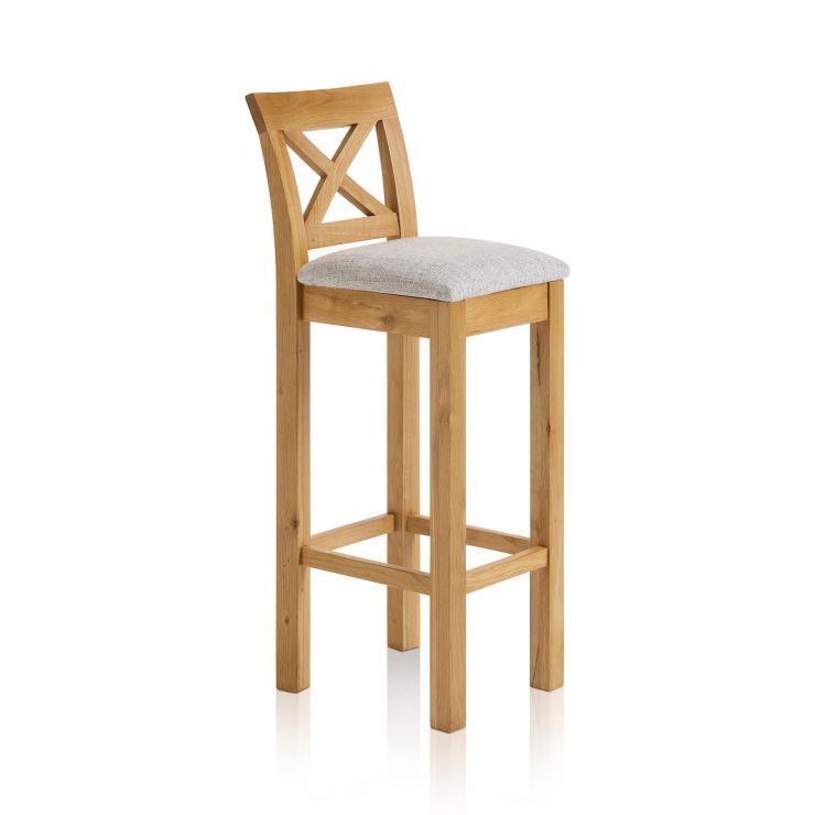 Rhodes Natural Solid Oak Cross Back Bar Stool with Plain Grey Fabric Pad