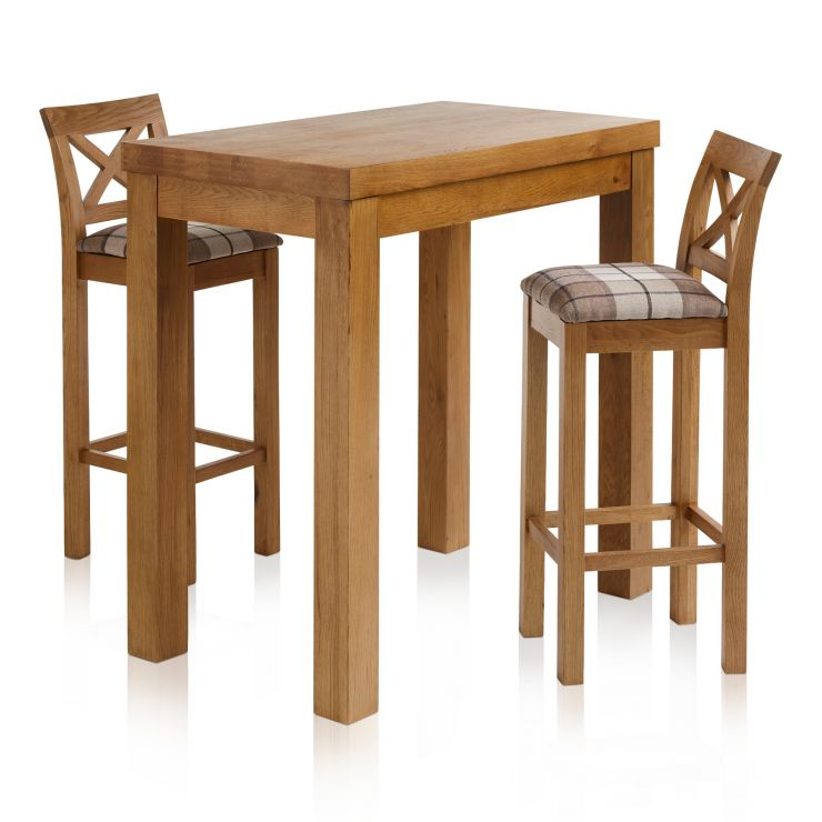 "Rhodes Rustic Solid Oak Breakfast Set - 3ft 3"" Table with 2 Cross Back Check Brown Fabric Bar Stools"