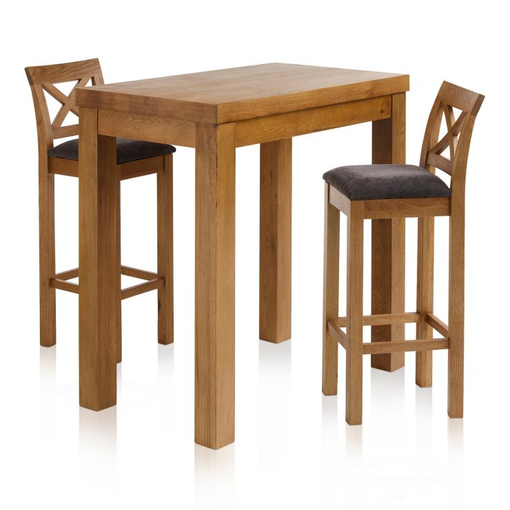 """Rhodes Rustic Solid Oak Breakfast Set - 3ft 3"""" Table with 2 Cross Back Plain Charcoal Fabric Bar Stools - Image 7"""