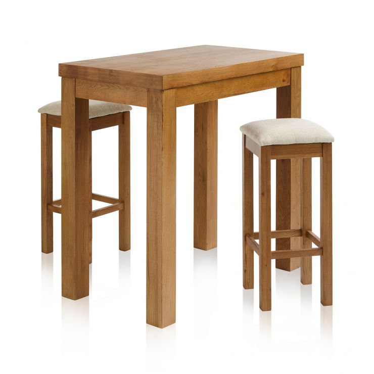 "Rhodes Rustic Solid Oak Breakfast Set - 3ft 3"" Table with 2 Square Plain Beige Fabric Bar Stools"