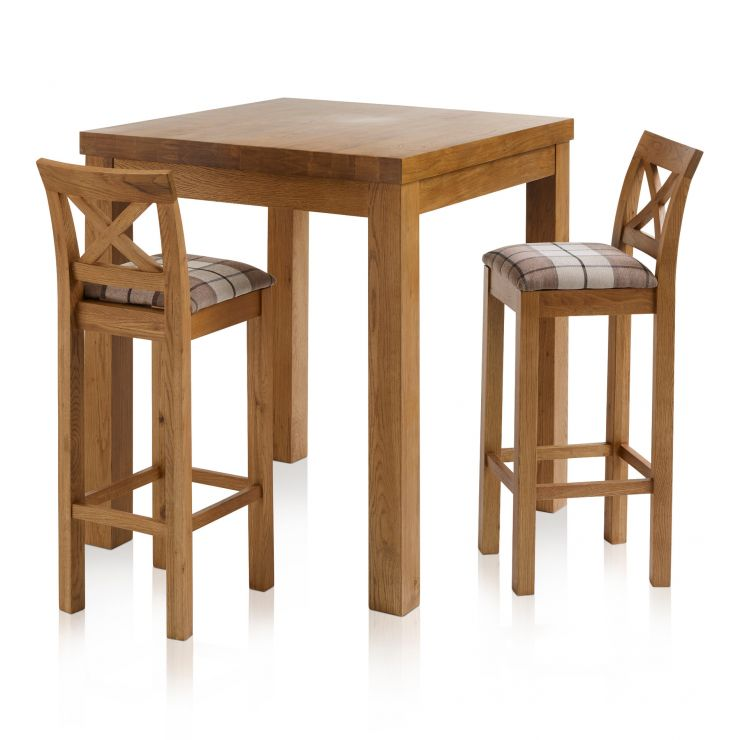 Rhodes Rustic Solid Oak Breakfast Set - 3ft Table with 2 Cross Back Check Brown Fabric Bar Stools